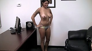 Curvy babe Harmony gets naked for a fuck with a hot fellow