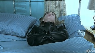 Blonde teen in a skirt Sasha Heart abused with a butt plug in bondage