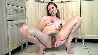 Baby Boom strips and masturbates by her kitchen - Compilation - WeAreHairy