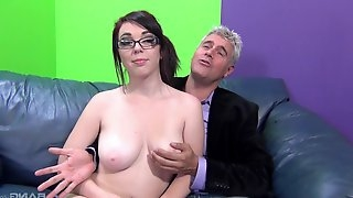 Fucking on the sofa with natural tits Mary Jane Mayhem with glasses