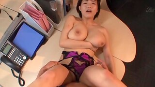 Chubby Japanese chick Kaho Shibuya moans while riding in the office