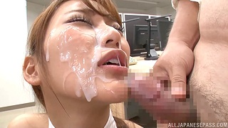 Chubby facial for slutty Japanese at the meeting
