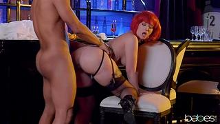 Needy redhead shows off alongside evident doggy scenes