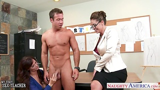 Art teacher and her student fuck handsome nude model Chad White