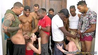 Kiki Daire and her GF are manifestation fucked by throng of big black jocks