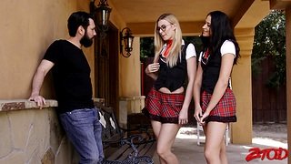 Forlorn fucking at home with pre-empt friends Alexa Grace and Avi Exalt