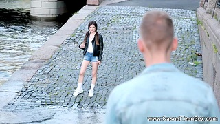 Nerdy teen from Russia gets laid upstairs an obstacle first date and takes cumshots upstairs glasses