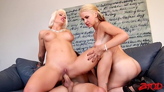 Cum in indiscretion ending for Holly Heart after a wild FFM trio